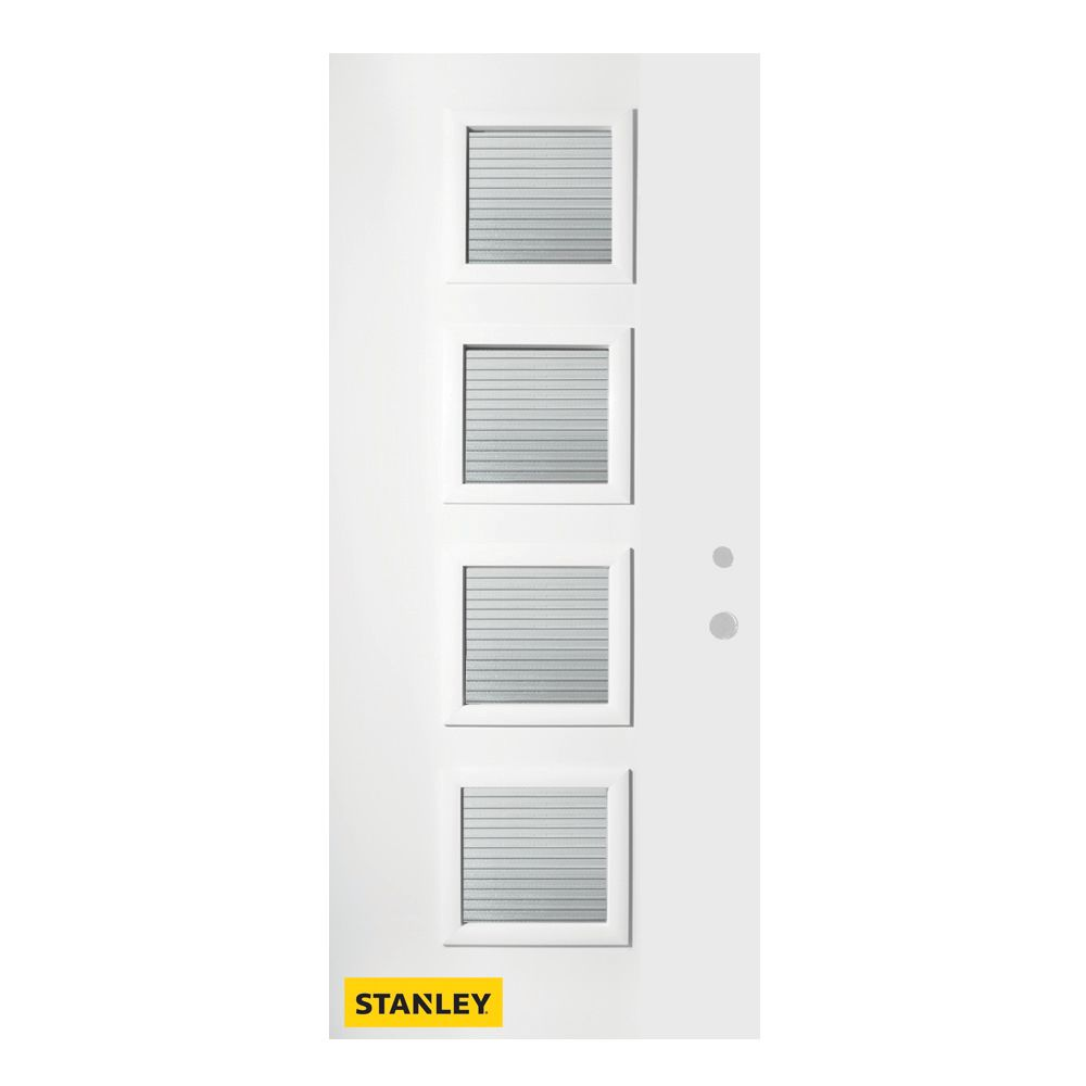 36-inch x 80-inch Evelyn Masterline 4-Lite Pre-Finished White Left-Hand Inswing Steel Entry Door