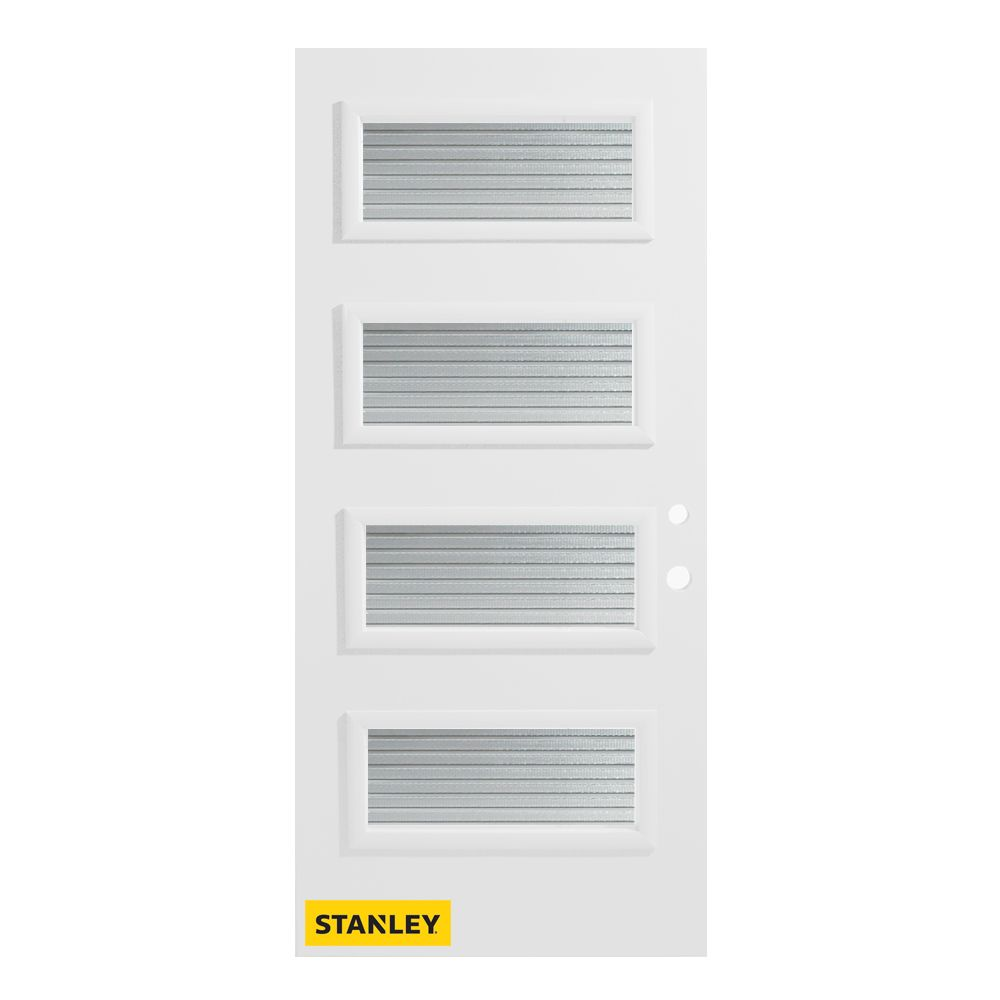 Stanley Doors 33.375 inch x 82.375 inch Lorraine 4-Lite Masterline Prefinished White Left-Hand Inswing Steel Prehung Front Door - ENERGY STAR®