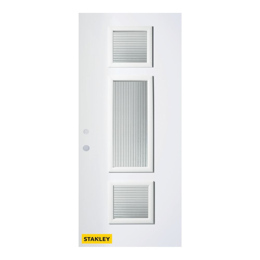 33.375 inch x 82.375 inch Marjorie 3-Lite Masterline Prefinished White Right-Hand Inswing Steel Prehung Front Door - ENERGY STAR®