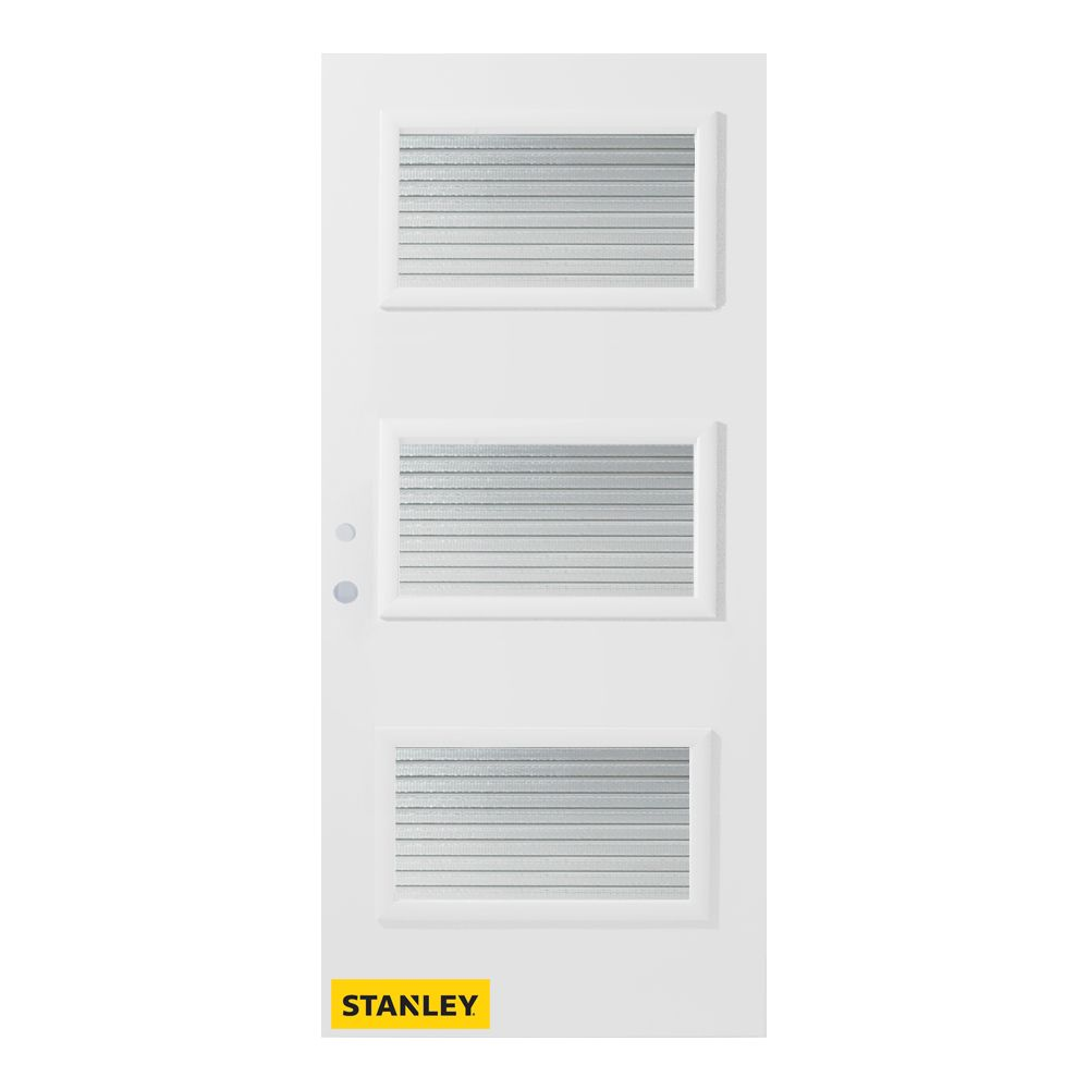33.375 inch x 82.375 inch Dorothy 3-Lite Masterline Prefinished White Right-Hand Inswing Steel Prehung Front Door - ENERGY STAR®