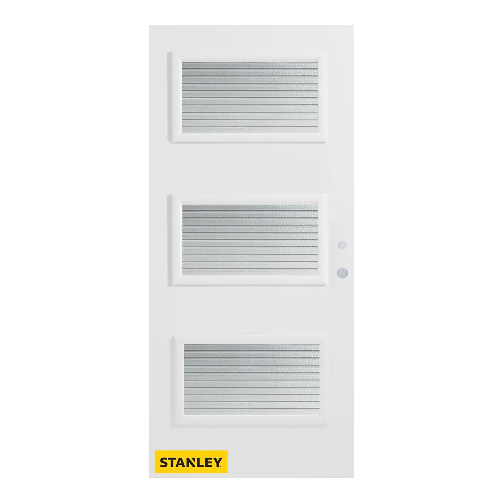 34-inch x 80-inch Dorothy Masterline 3-Lite Pre-Finished White Left-Hand Inswing Steel Entry Door