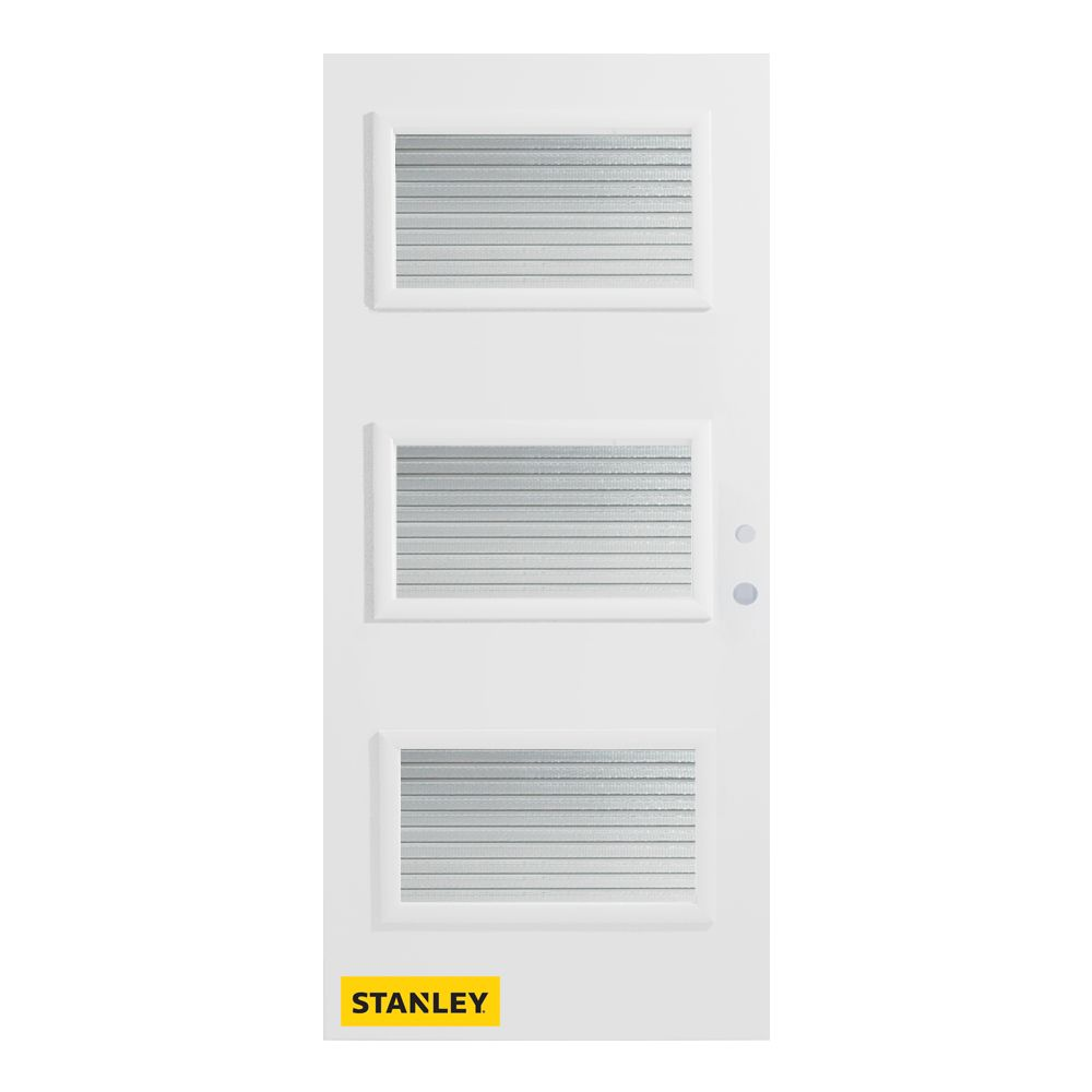 36-inch x 80-inch Dorothy Masterline 3-Lite Pre-Finished White Left-Hand Inswing Steel Entry Door