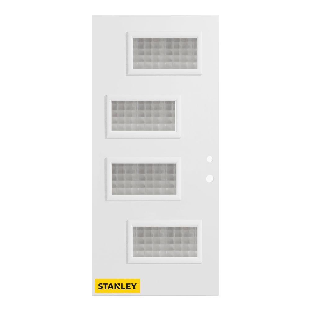 Stanley Doors 33.375 inch x 82.375 inch Beatrice 4-Lite Gingoshi Prefinished White Left-Hand Inswing Steel Prehung Front Door