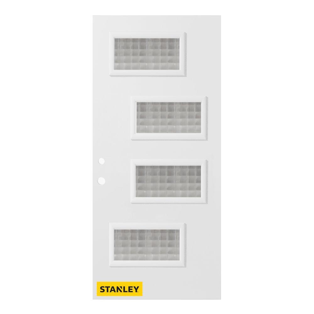 Stanley Doors 35.375 inch x 82.375 inch Beatrice 4-Lite Screen Prefinished White Right-Hand Inswing Steel Prehung Front Door