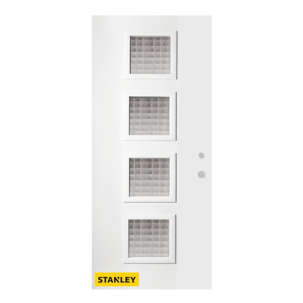 35.375 inch x 82.375 inch Evelyn 4-Lite Screen Prefinished White Left-Hand Inswing Steel Prehung Front Door