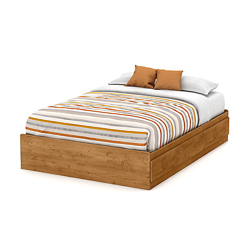 Little Treasures Full Mates Bed (54 Inch) with 3 Drawers, Country Pine