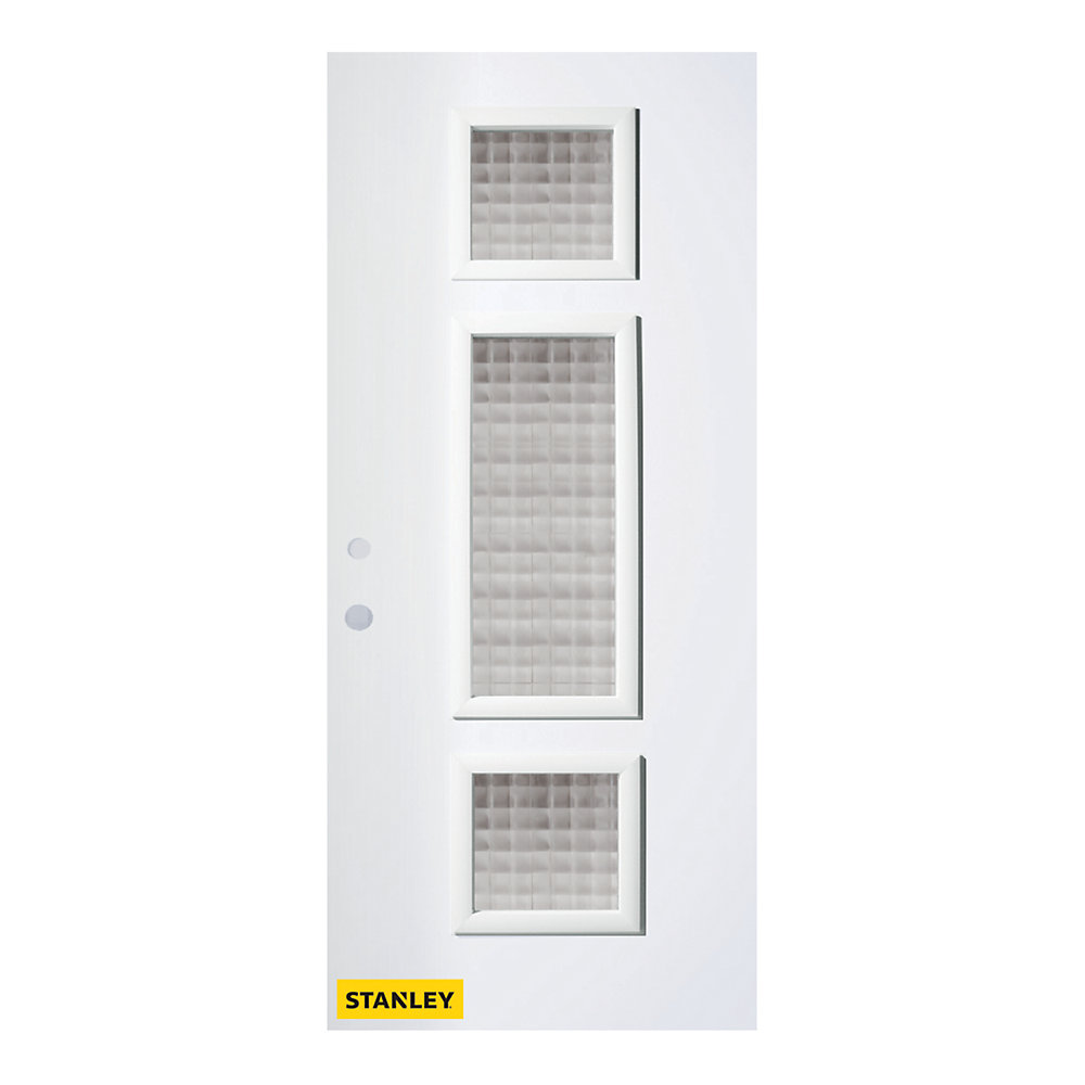 33.375 inch x 82.375 inch Marjorie 3-Lite Gingoshi Prefinished White Right-Hand Inswing Steel Prehung Front Door - ENERGY STAR®