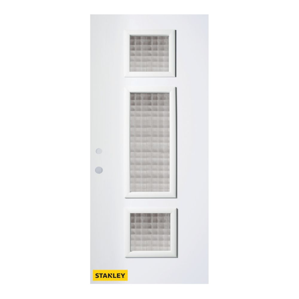 32-inch x 80-inch Marjorie Carré 3-Lite Pre-Finished White Right-Hand Inswing Steel Entry Door