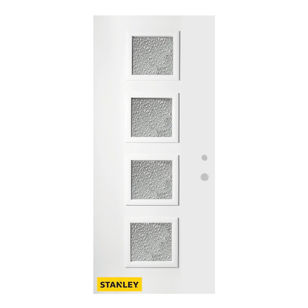 35.375 inch x 82.375 inch Evelyn 4-Lite Diamond Prefinished White Left-Hand Inswing Steel Prehung Front Door - ENERGY STAR®