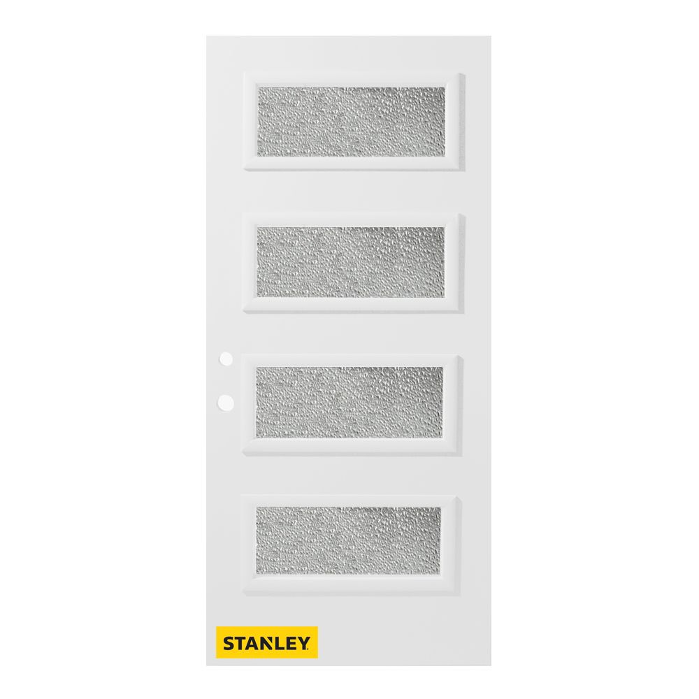 Stanley Doors 37.375 inch x 82.375 inch Lorraine 4-Lite Diamond Prefinished White Right-Hand Inswing Steel Prehung Front Door - ENERGY STAR®