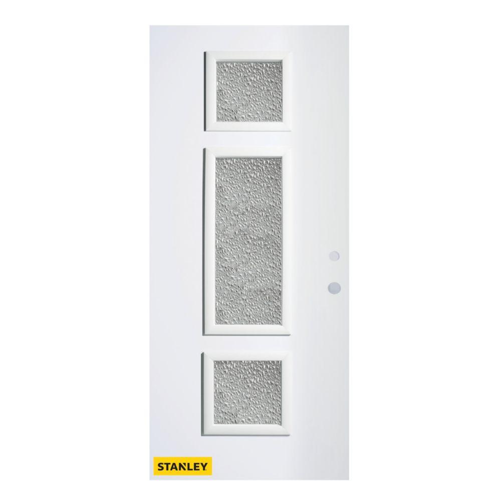 32-inch x 80-inch Marjorie Diamond 3-Lite Pre-Finished White Left-Hand Inswing Steel Entry Door