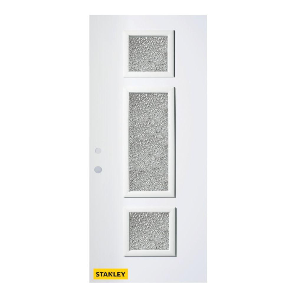 Porte d'entré en acier préfini en blanc, munie de 3 panneaux de verres, 32 po x 80 po, ouverture ...