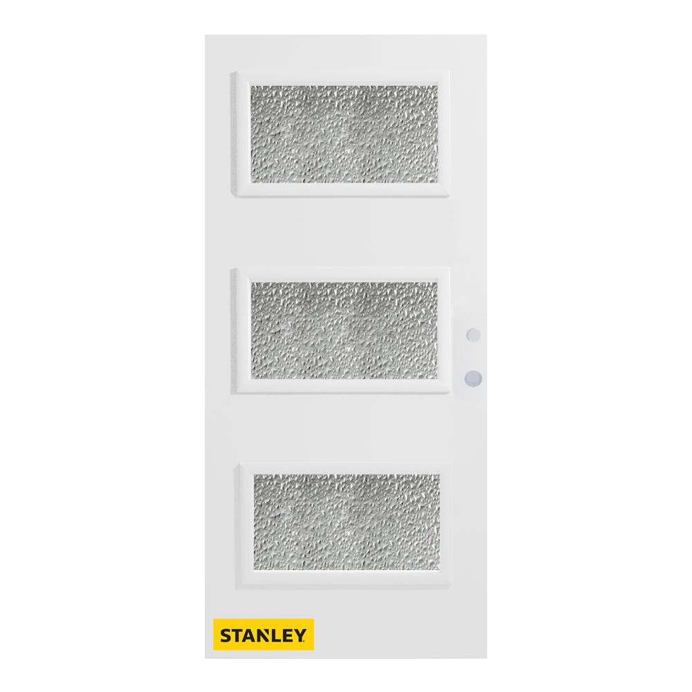36-inch x 80-inch Dorothy Diamond 3-Lite Pre-Finished White Left-Hand Inswing Steel Entry Door