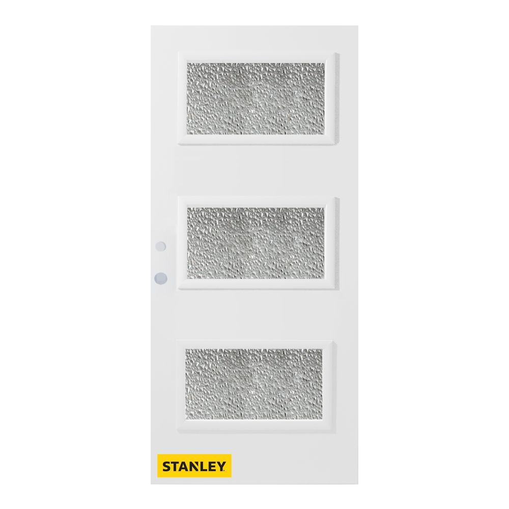 36-inch x 80-inch Dorothy Diamond 3-Lite Pre-Finished White Right-Hand Inswing Steel Entry Door