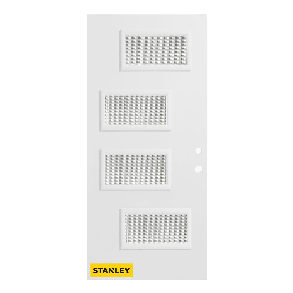 Stanley Doors 33.375 inch x 82.375 inch Beatrice 4-Lite Grain Prefinished White Left-Hand Inswing Steel Prehung Front Door - ENERGY STAR®