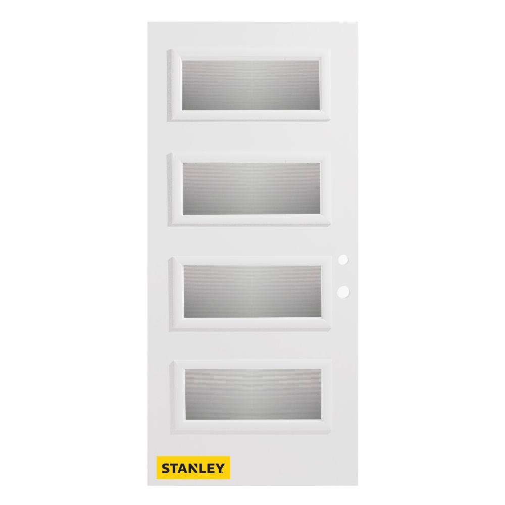 Porte d'entré en acier préfini en blanc, munie de 4 panneaux de verres, 36 po x 80 po, ouverture ...