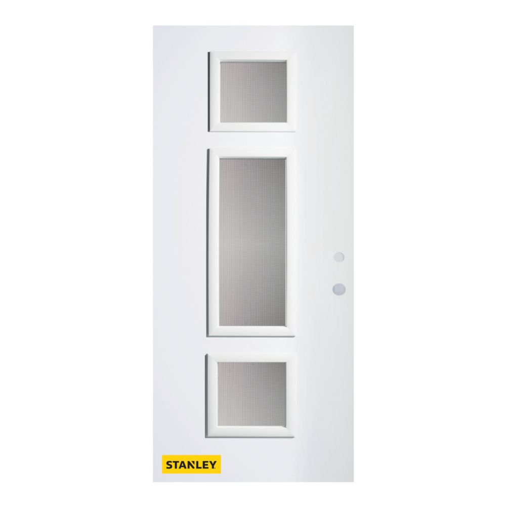 32-inch x 80-inch Marjorie Screen 3-Lite Pre-Finished White Left-Hand Inswing Steel Entry Door