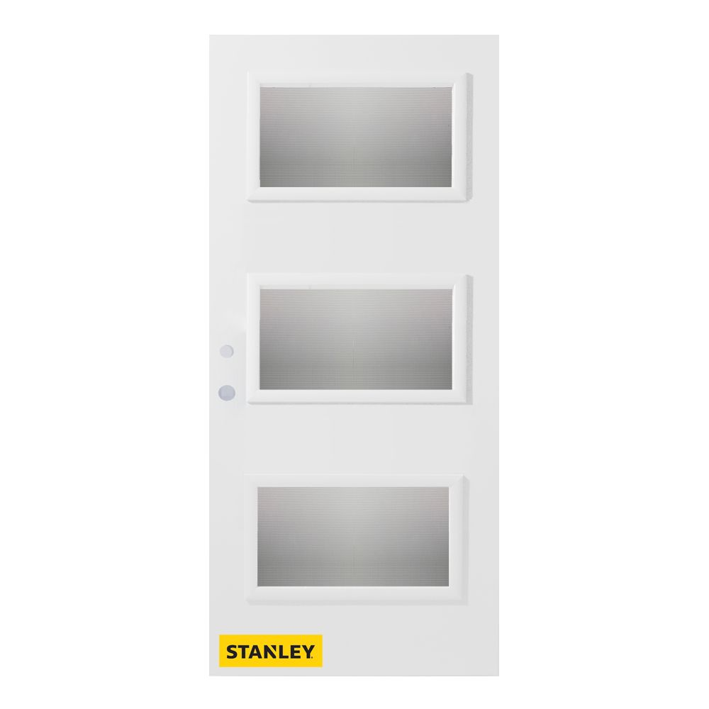 32-inch x 80-inch Dorothy Screen 3-Lite Pre-Finished White Right-Hand Inswing Steel Entry Door