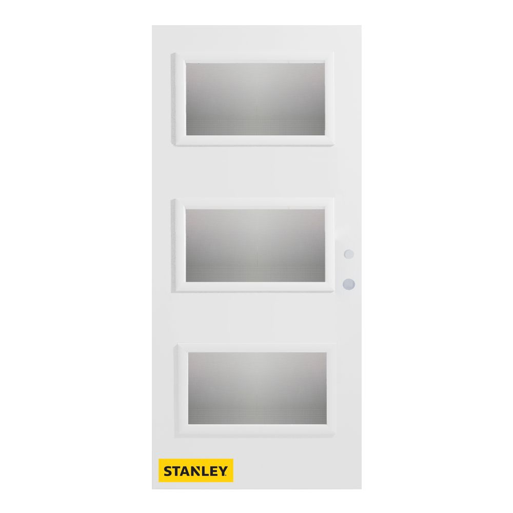 34-inch x 80-inch Dorothy Screen 3-Lite Pre-Finished White Left-Hand Inswing Steel Entry Door