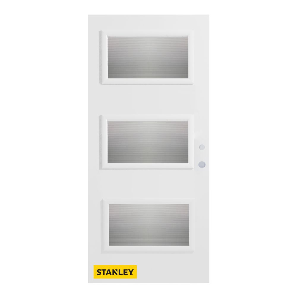 36-inch x 80-inch Dorothy Screen 3-Lite Pre-Finished White Left-Hand Inswing Steel Entry Door