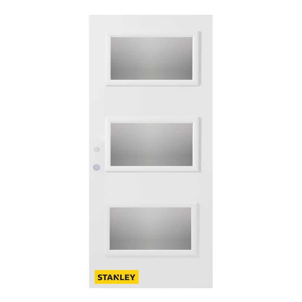 36-inch x 80-inch Dorothy Screen 3-Lite Pre-Finished White Right-Hand Inswing Steel Entry Door