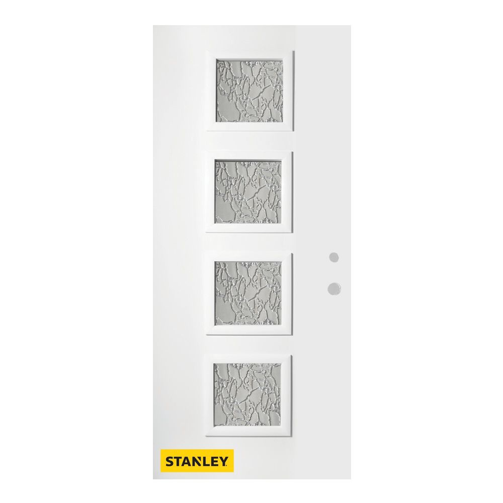 34-inch x 80-inch Evelyn Delta Satin 4-Lite Pre-Finished White Left-Hand Inswing Steel Entry Door