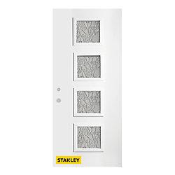 Stanley Doors Porte d'entré en acier préfini en blanc, munie de 4 panneaux de verres, 34 po x 80 po, ouverture vers l'intérieur à droite