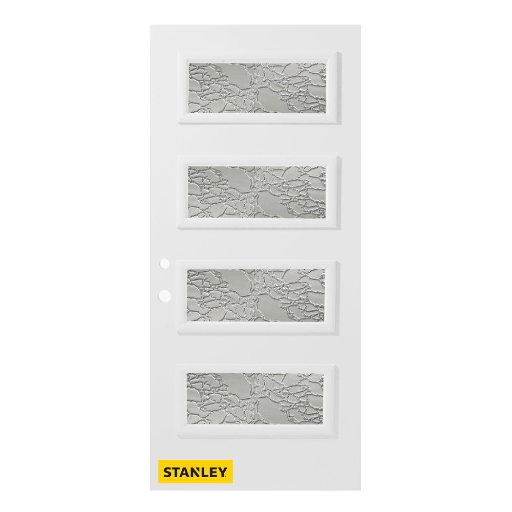 Porte d'entré en acier préfini en blanc, munie de 4 panneaux de verres, 32 po x 80 po, ouverture ...