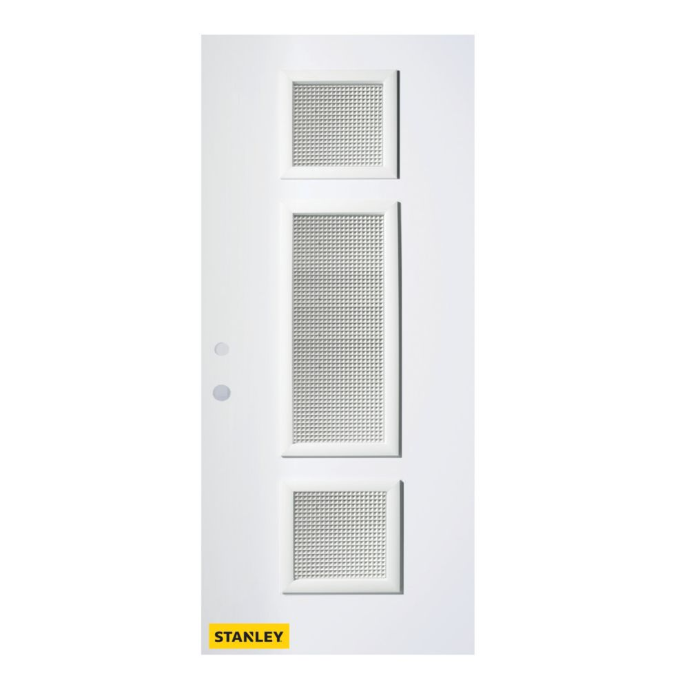 34-inch x 80-inch Marjorie Gingoshi 3-Lite Pre-Finished White Right-Hand Inswing Steel Entry Door
