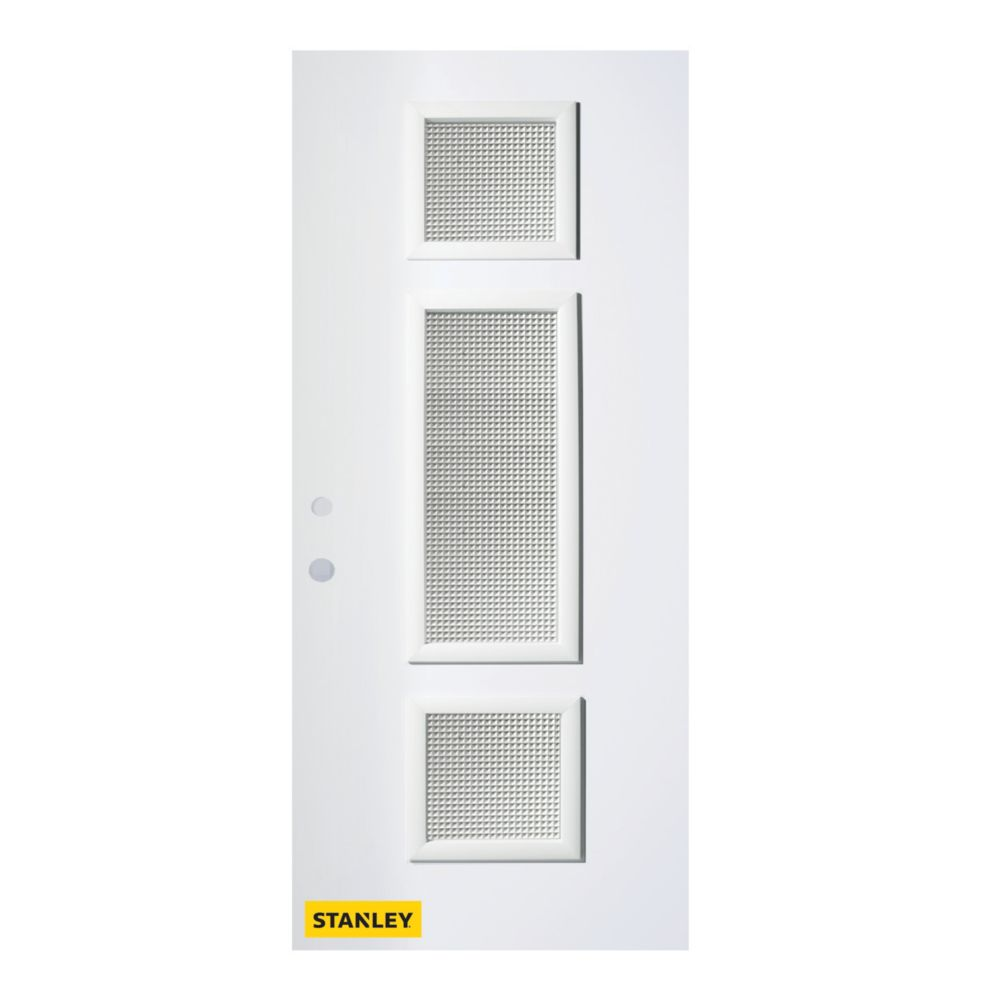 36-inch x 80-inch Marjorie Gingoshi 3-Lite Pre-Finished White Right-Hand Inswing Steel Entry Door