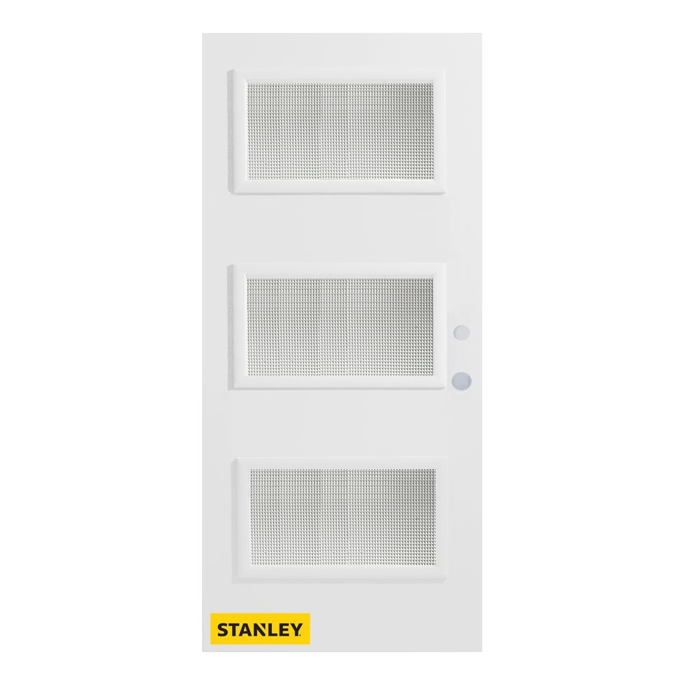 33.375 inch x 82.375 inch Dorothy 3-Lite Prefinished White Left-Hand Inswing Steel Prehung Front Door - ENERGY STAR®