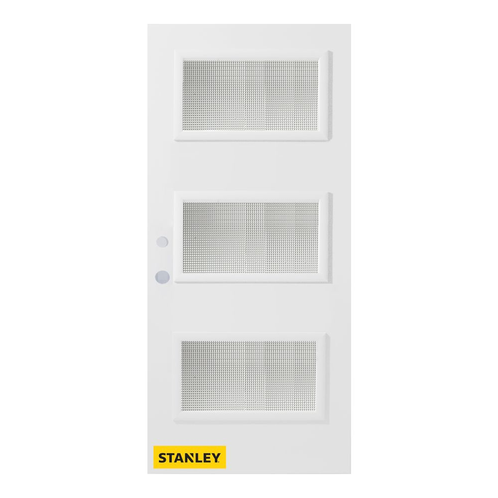 Stanley Doors 33.375 inch x 82.375 inch Dorothy 3-Lite Prefinished White Right-Hand Inswing Steel Prehung Front Door - ENERGY STAR®