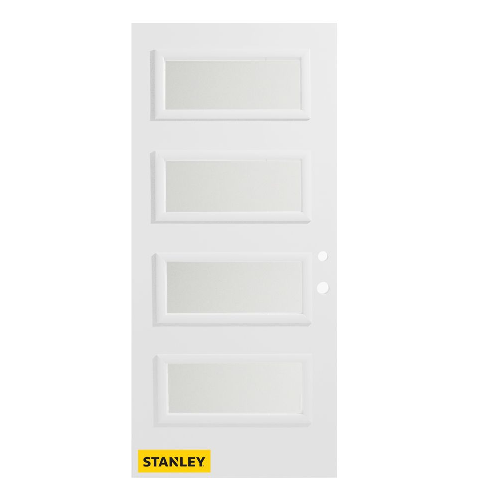 36-inch x 80-inch Lorraine Satin Opaque 4-Lite Pre-Finished White Left-Hand Inswing Steel Entry D...