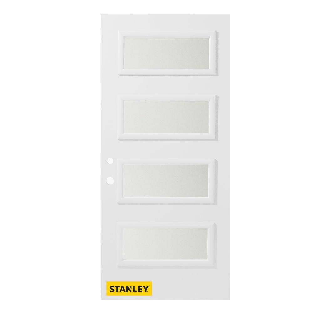 36-inch x 80-inch Lorraine Satin Opaque 4-Lite White Right-Hand Inswing Steel Entry Door