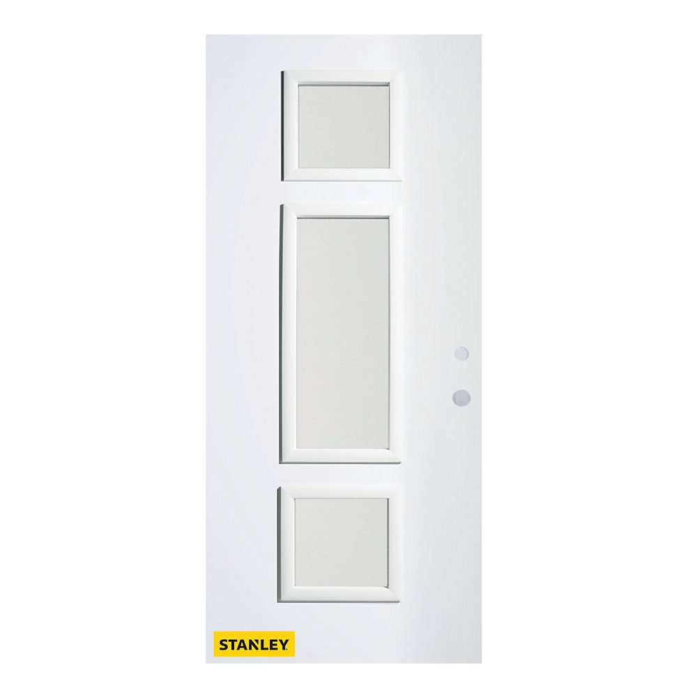33.375 inch x 82.375 inch Marjorie 3-Lite Louise Prefinished White Left-Hand Inswing Steel Prehung Front Door - ENERGY STAR®