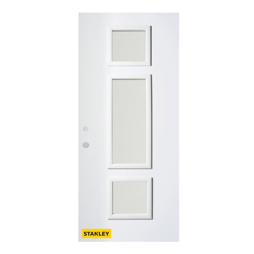 34-inch x 80-inch Marjorie Satin Opaque 3-Lite White Right-Hand Inswing Steel Entry Door