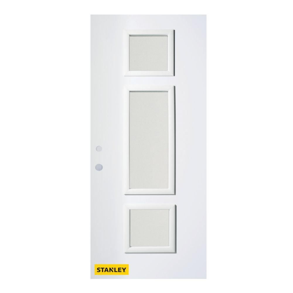 36-inch x 80-inch Marjorie Satin Opaque 3-Lite White Right-Hand Inswing Steel Entry Door