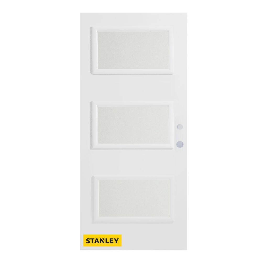 34-inch x 80-inch Dorothy Satin Opaque 3-Lite Pre-Finished White Left-Hand Inswing Steel Entry Do...