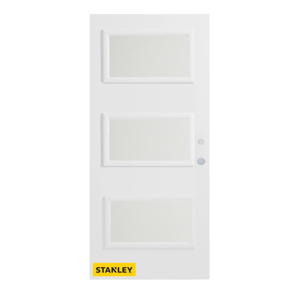 36-inch x 80-inch Dorothy Satin Opaque 3-Lite Pre-Finished White Left-Hand Inswing Steel Entry Do...