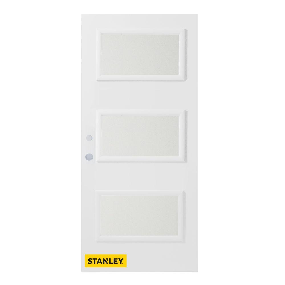 Porte d'entré en acier préfini en blanc, munie de 3 panneaux de verres, 36 po x 80 po, ouverture ...
