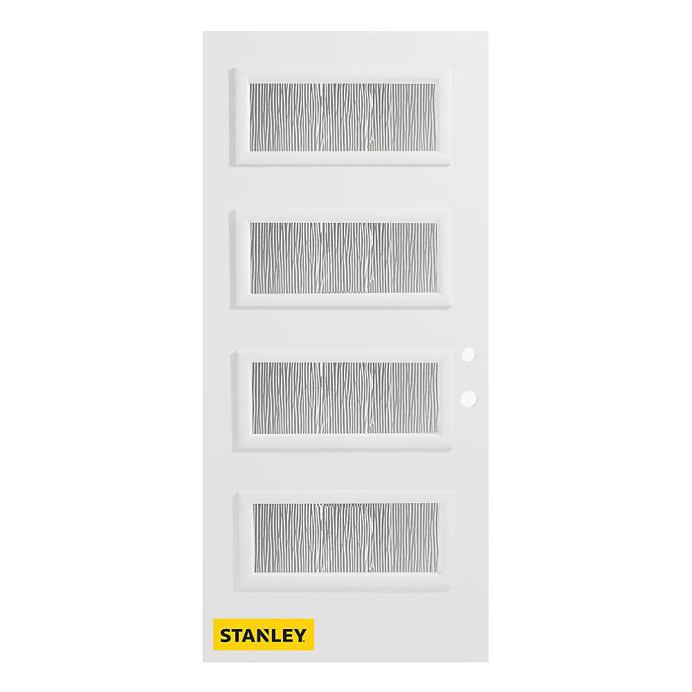 Porte d'entré en acier préfini en blanc, munie de 4 panneaux de verres, 32 po x 80 po, ouverture vers l'intérieur à gauche - ENERGY STAR®