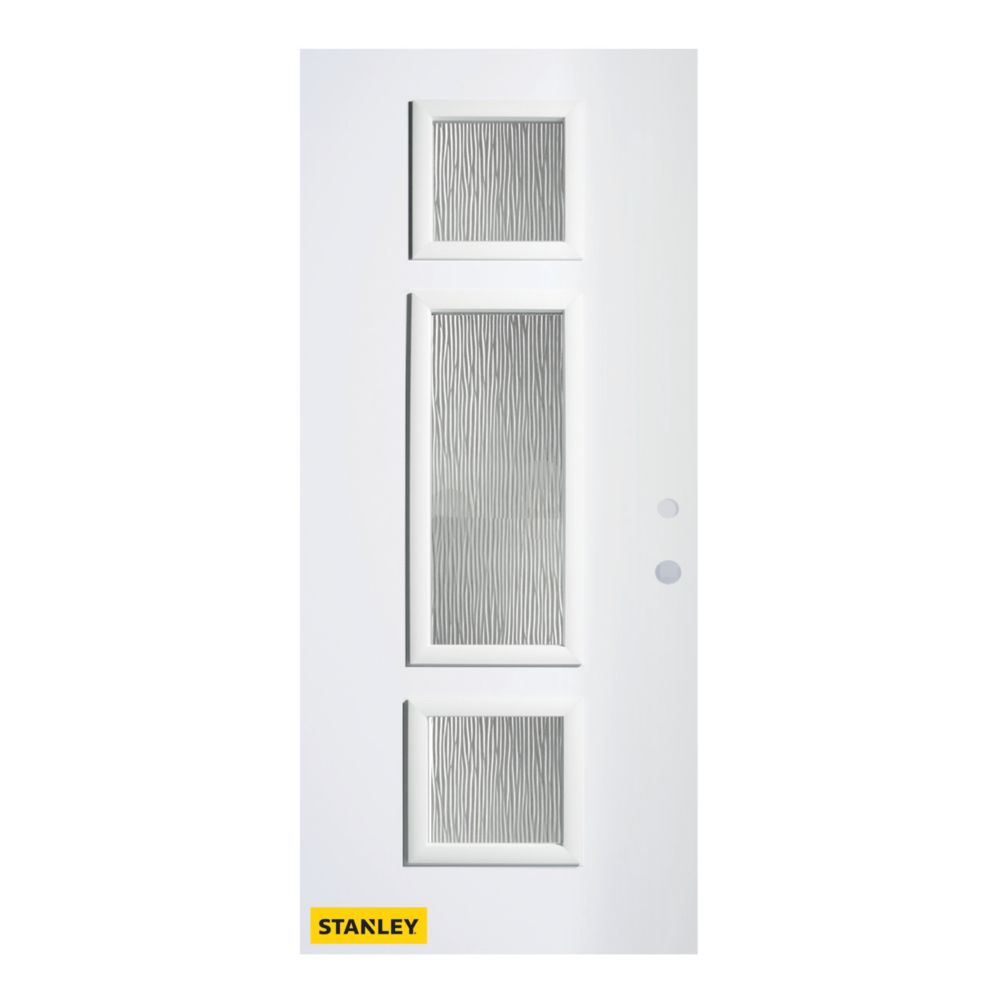 32-inch x 80-inch Marjorie Grain 3-Lite Pre-Finished White Left-Hand Inswing Steel Entry Door