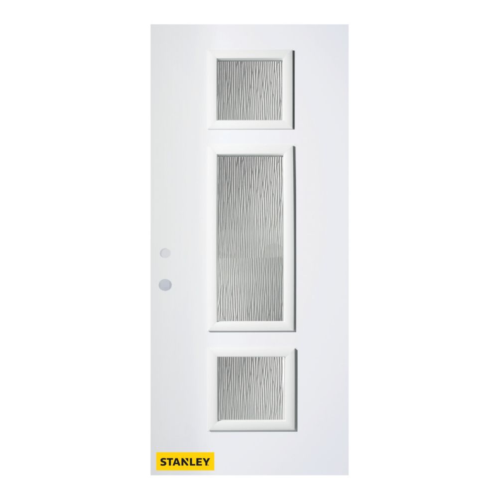 32-inch x 80-inch Marjorie Grain 3-Lite Pre-Finished White Right-Hand Inswing Steel Entry Door