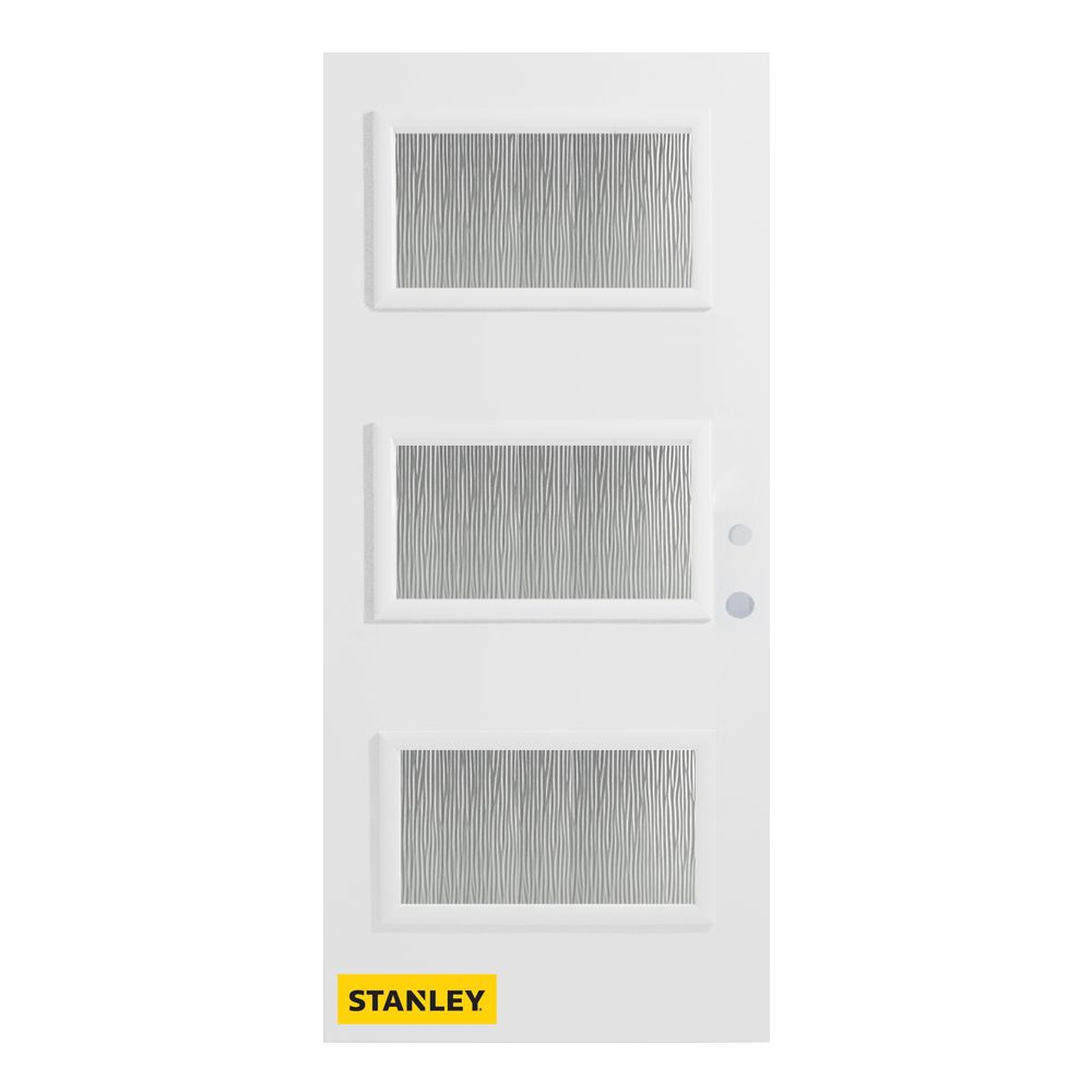 34-inch x 80-inch Dorothy Grain 3-Lite Pre-Finished White Left-Hand Inswing Steel Entry Door
