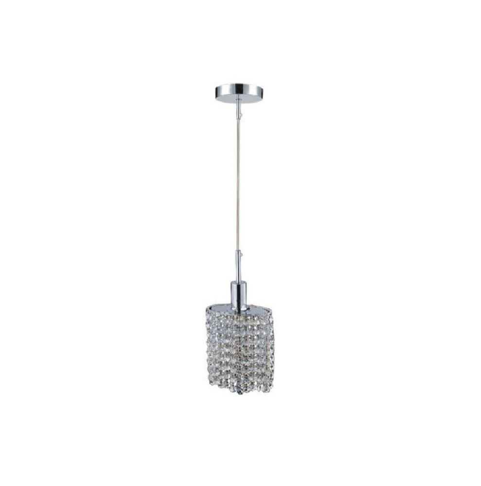 CWI Lighting Oval Single Pendant With Double Strand Clear Crystals On A Round Canopy