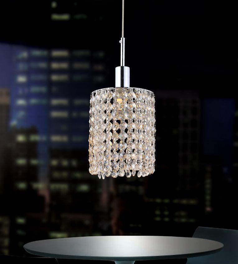 Plafonnier rond avec lumière unique orné dune double rangée de cristaux transparents