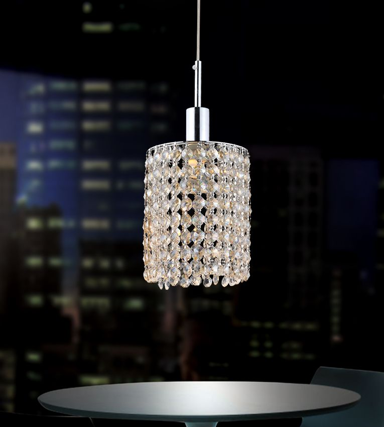 Round Single Pendant With Double Strand Clear Crystals On A Round Canopy