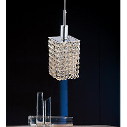 CWI Lighting Square Single Pendant With Double Strand Champagne Crystals On A Round Canopy