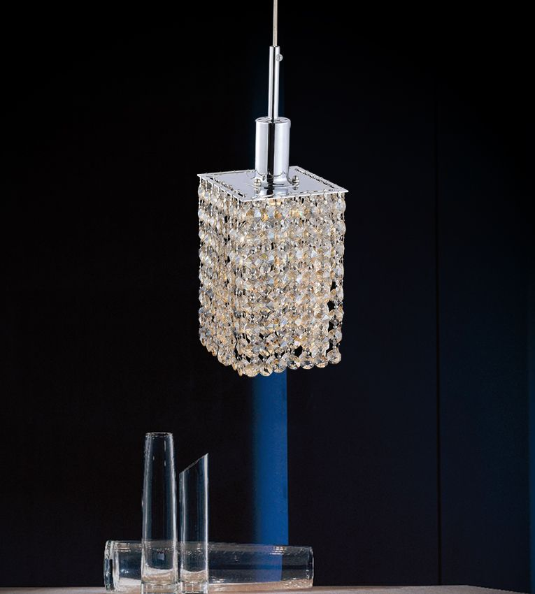 Square Single Pendant With Double Strand Champagne Crystals On A Round Canopy
