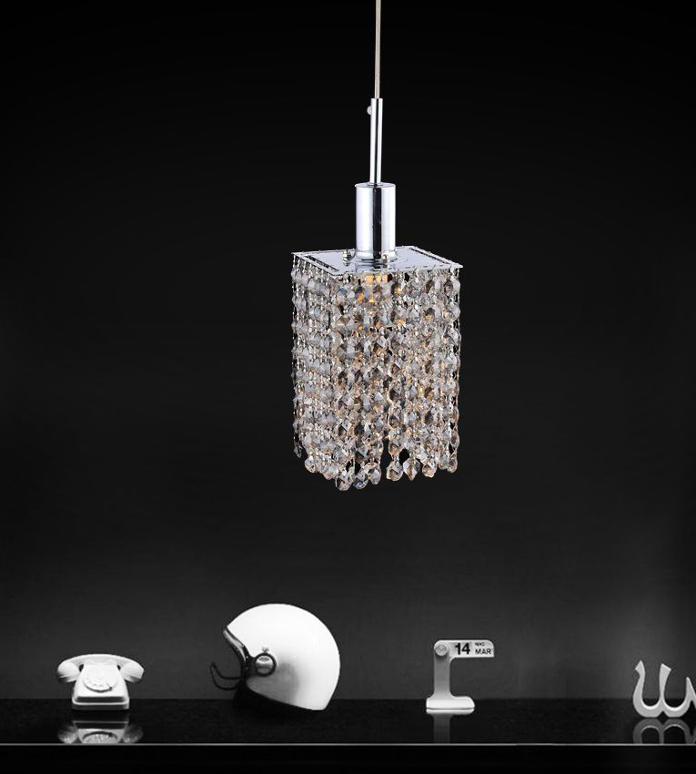 Square Single Pendant With Double Strand Smoke Crystals On A Round Canopy 4281P-R-S (Smk) in Canada
